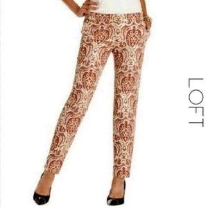 LOFT Rustic Jacquard Cigarette Ankle Trousers NWT